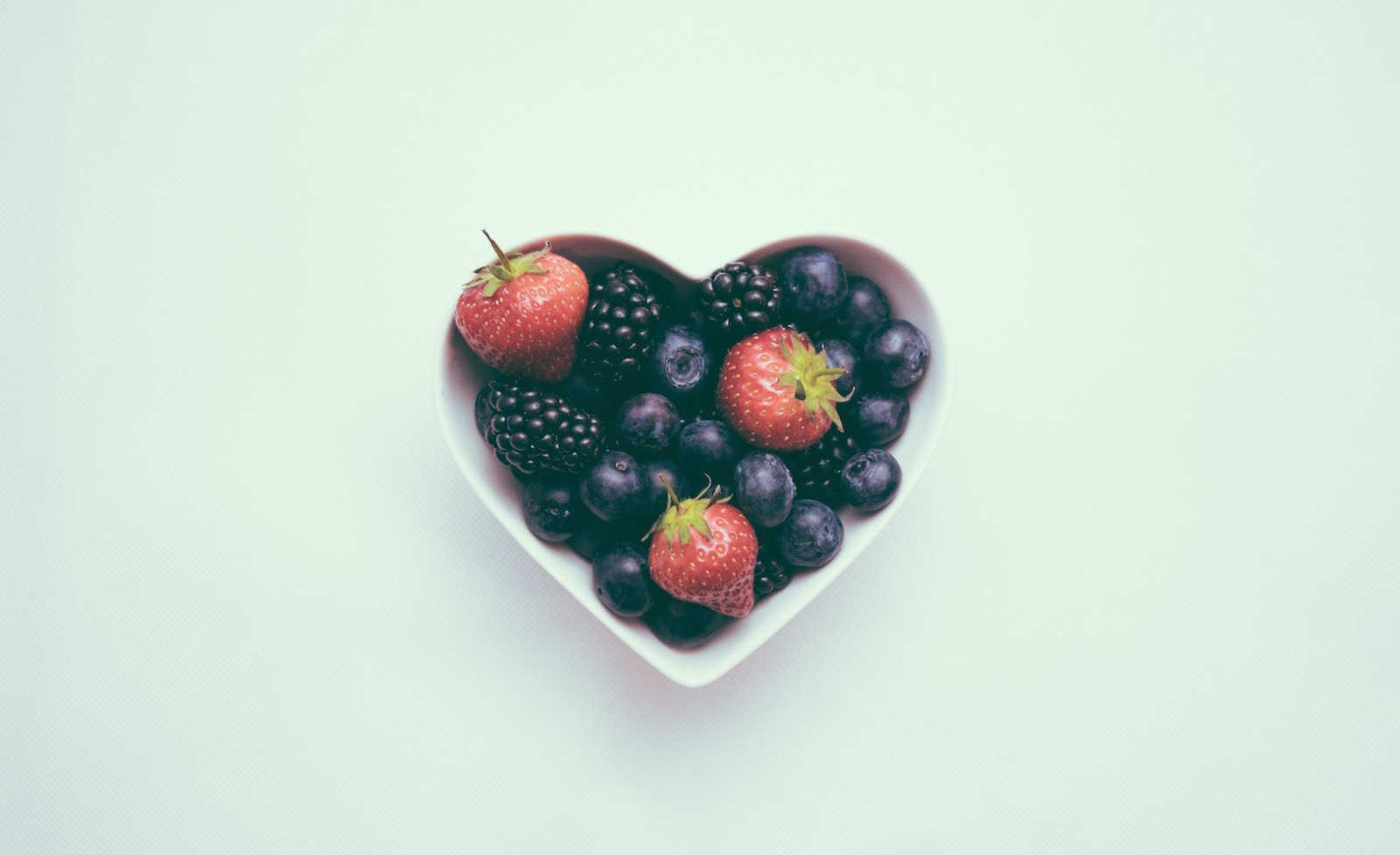 Bowl Of Fruit In Heart Shaped Bowl - For A Healthy Heart